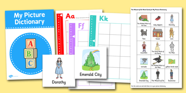 The Wizard of Oz Picture Dictionary Word Cards - wizard of oz, picture, dictionary, word cards