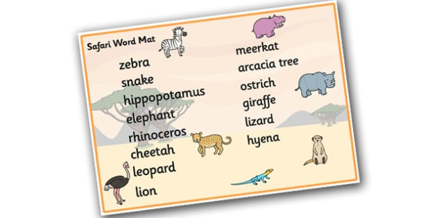 Safari Word Mat (Text Version) - Safari, word mat, writing aid, A4, display, lion, cheetah, puma, jaguar, rhino, hippo, elephant, giraffe, antelope
