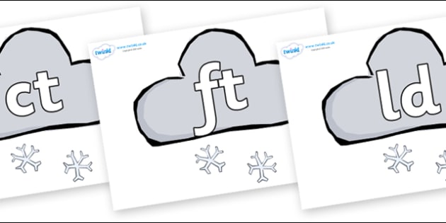 Final Letter Blends on Weather Symbols (Snow) - Final Letters, final letter, letter blend, letter blends, consonant, consonants, digraph, trigraph, literacy, alphabet, letters, foundation stage literacy