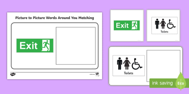 Workstation Pack: Picture to Picture Words Around You Matching Activity