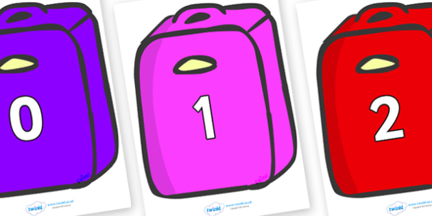 Numbers 0-31 on Suitcases - 0-31, foundation stage numeracy, Number recognition, Number flashcards, counting, number frieze, Display numbers, number posters