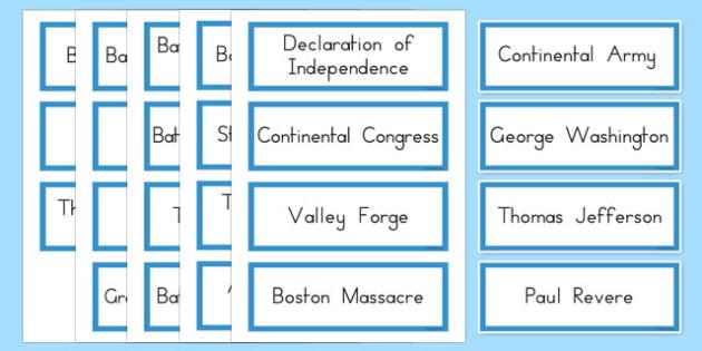 USA Revolutionary War Word Cards - US Resources, Revolutionary War, Vocabulary