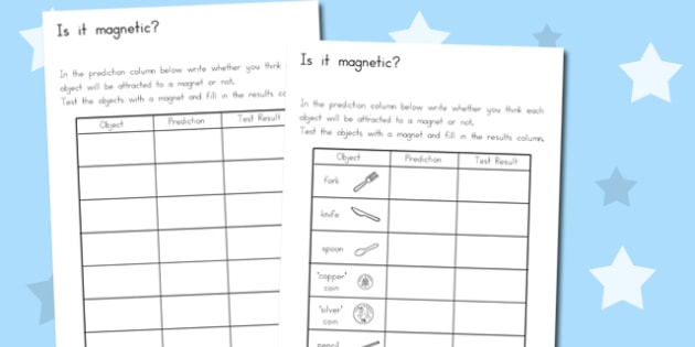 Magnetic Objects Worksheet - australia, magnetic objects, sheet