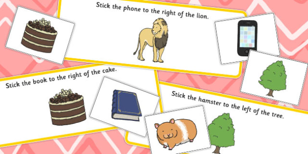 Right and Left Cut and Stick Cards - visual, activity, activities