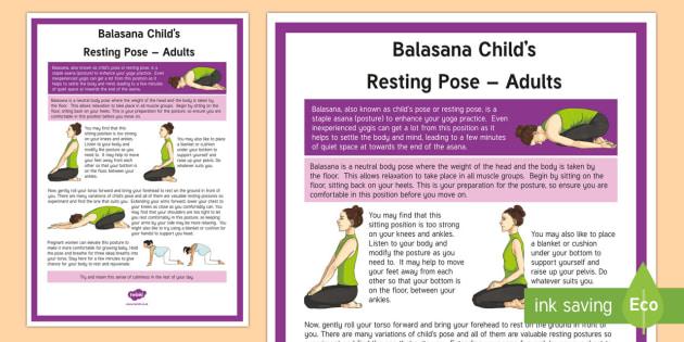 Balasana Child's Resting Pose – Adult Yoga Information Cards