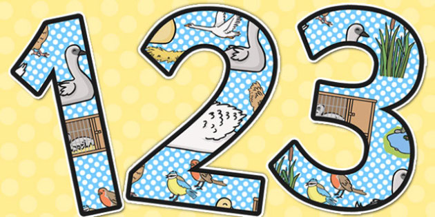 Ugly Duckling Themed Display Numbers - display, number, ugly duck