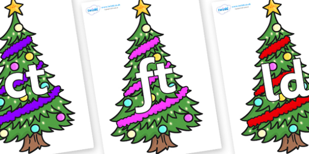Final Letter Blends on Christmas Trees (Decorated) - Final Letters, final letter, letter blend, letter blends, consonant, consonants, digraph, trigraph, literacy, alphabet, letters, foundation stage literacy