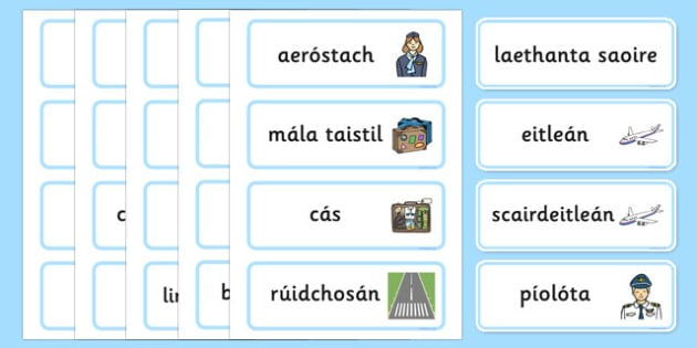Holiday Travel Topic Words Gaeilge - Holidays, word card, flashcards, labels, holiday, travel, role play, display poster, poster, sign, holidays, agent, booking, plane, flight, hotel