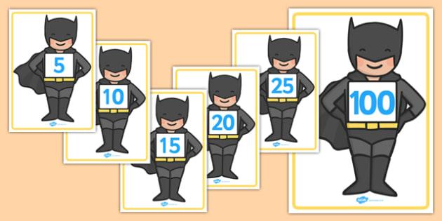 Counting in Fives on Bat Superhero - counting in 5s, bat superhero, batman, count, five