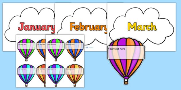 Editable Hot-Air Balloon Birthday Display - birthday, birthday display, editable birthday display, classroom display, classroom management, hot air balloon