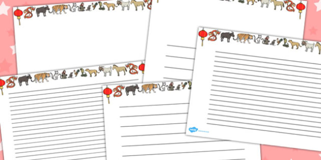 Australia Chinese New Year Landscape Page Borders - new year hat, paper hat, party hat, hat making activity