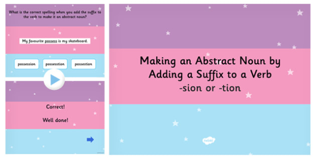Making an Abstract Noun by Adding the Suffix to a Verb SPaG Quiz