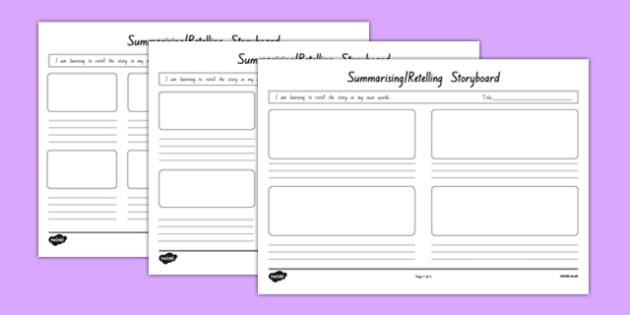 Summarising and Retelling Storyboard Template