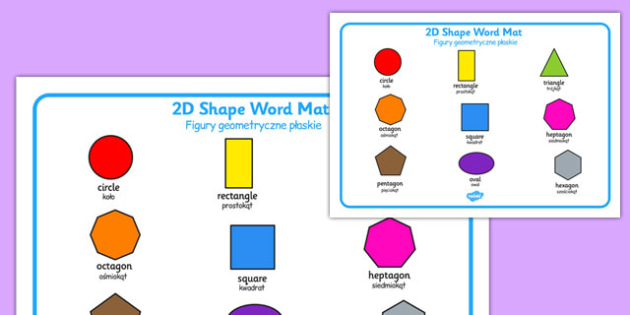 2D Shape Word Mat Polish Translation - polish, 2d shape, word mat, 2d, shape, numeracy