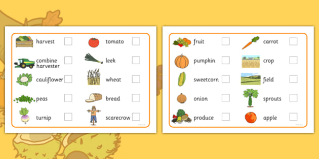 Harvest Pre-Teaching Vocabulary List - harvest, pre-teaching, vocabular list