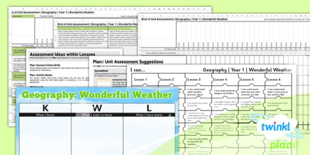 PlanIt - Geography KS1 - Wonderful Weather Unit Assessment Pack - planit, assessment, pack