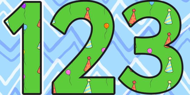Birthday Themed Display Numbers 3 - birthday, numbers, display