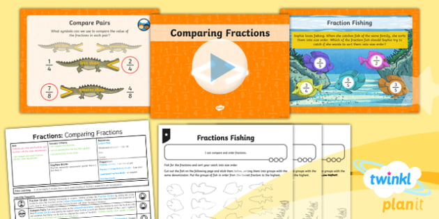 PlanIt Y3 Fractions Lesson Pack Compare and Order Fractions (1) - Fractions, greater than, less than, order, smallest, largest, comparing fractions, ordering fractions