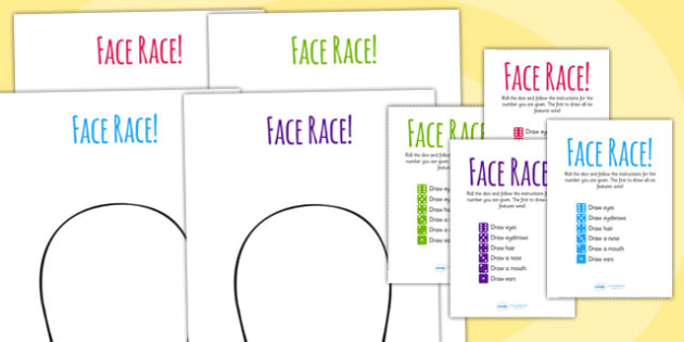 Face Race Activity - face, ourselves, body, emotions, feelings