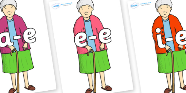 Modifying E Letters on Harry's Nan to Support Teaching on Harry and the Bucketful of Dinosaurs - Modifying E, letters, modify, Phase 5, Phase five, alternative spellings for phonemes, DfES letters and Sounds