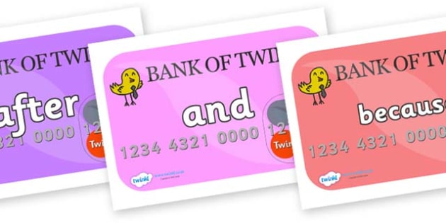 Connectives on Debit Cards - Connectives, VCOP, connective resources, connectives display words, connective displays