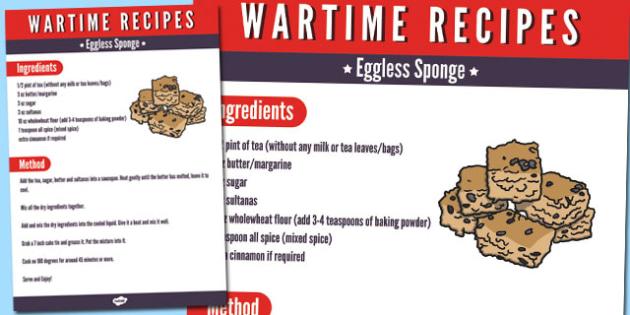 Wartime Eggless Sponge Recipe - wartime, recipe, eggless sponge