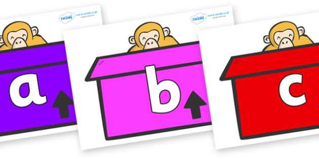 Phoneme Set on Monkeys (Box) to Support Teaching on Dear Zoo - Phoneme set, phonemes, phoneme, Letters and Sounds, DfES, display, Phase 1, Phase 2, Phase 3, Phase 5, Foundation, Literacy
