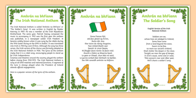 Amhrán na bhFiann Irish National Anthem Brief History and Lyrics - gaeilge, irish, amhran na bhfiann, irish national anthem, brief history, lyrics
