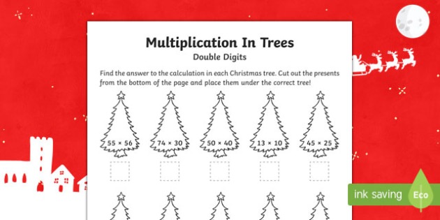 Double digit multiplication Christmas Activity Sheet-Australia