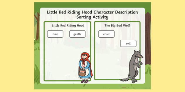 Little Red Riding Hood Character Description Sorting Activity