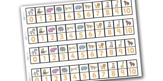 Safari Number Track (1-10) - Safari, Maths, Math, number track, numbertrack, Counting, Numberline, Number line, Counting on, Counting back, lion, cheetah, puma, jaguar, rhino, hippo, elephant, giraffe, antelope