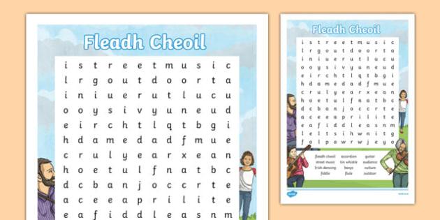 Fleadh Cheoil Word Search-Irish