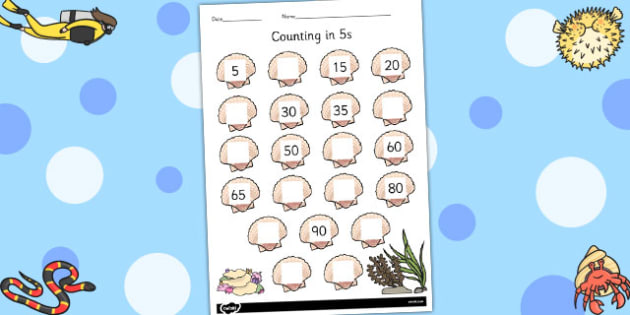 Counting in 5s on Seashells Worksheet - seashells, counting