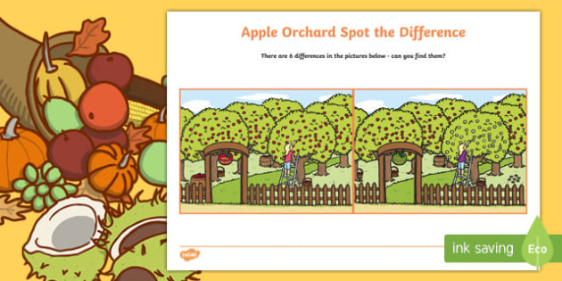Apple Orchard Spot the Difference Activity Sheet