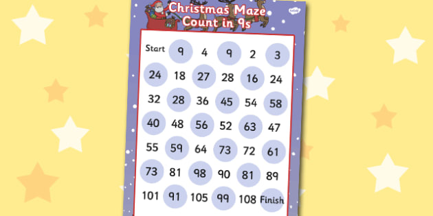 Christmas Counting in 9s Maze Activity - christmas, counting