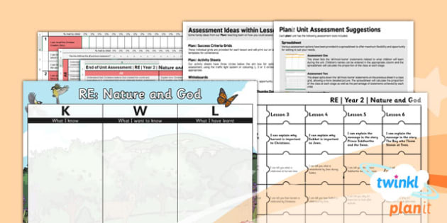 PlanIt - RE Year 2 - Nature and God Assessment Pack - planit, re, religious education, year 2, nature and god, assessment pack