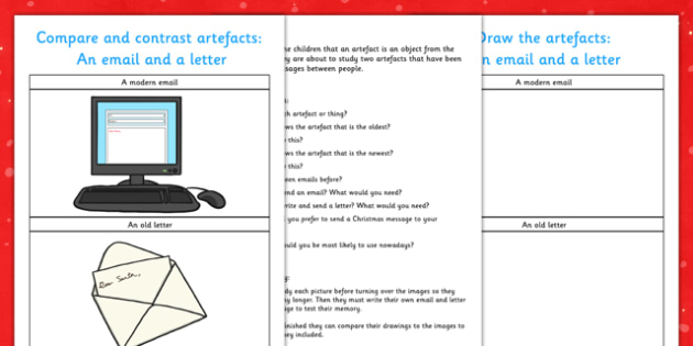 Aistear Christmas and The Post Office Compare and Contrast Artefact Study - roi, irish, gaeilge, Compare, Contrast, History, Artefact, Letter, Email, The Post Office, Communication