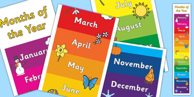 Months of the Year Large Rolling Banner - banners, display