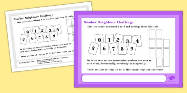 A4 Number Card Neighbour Maths Challenge Poster - posters, cards