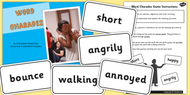 How to Play Word Charades PowerPoint Activity Pack - game, words