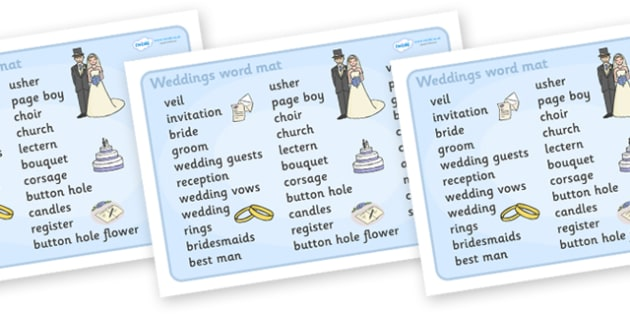 Wedding Word Mat (Text) - Wedding, word mat, writing aid, weddings, marriage, bride, groom, church, priest, vicar, dress, cake, ring, rings, bridesmaid, flowers, bouquet, reception, love