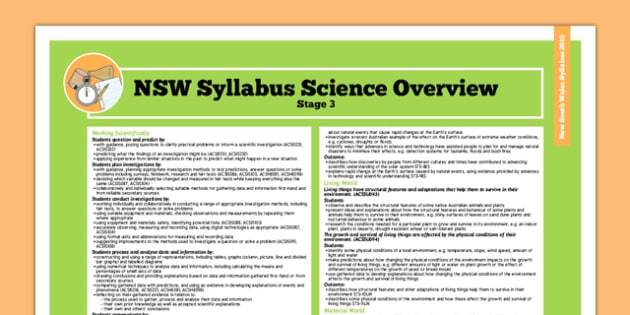 NSW Stage 3 Science Syllabus Overview - australia, syllabus, nsw