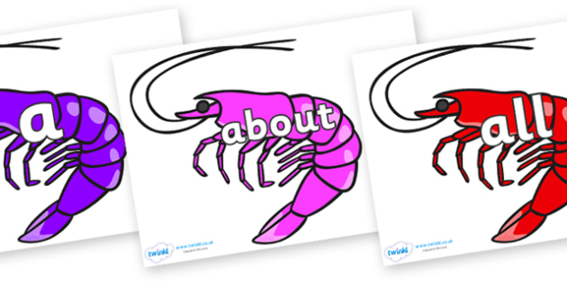 100 High Frequency Words on Shrimps - High frequency words, hfw, DfES Letters and Sounds, Letters and Sounds, display words