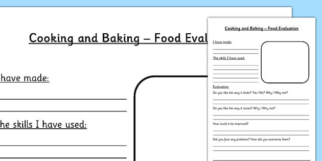 Design and Technology Food Evaluation Worksheet - DT, food tech