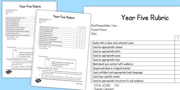 Oral Presentation Rubric Year Five - australia, oral, presentation, rubric, year five