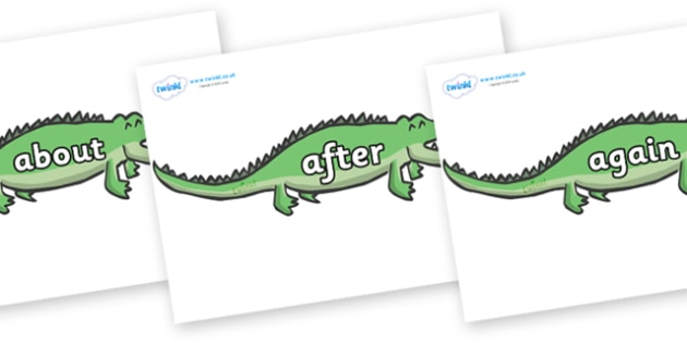 KS1 Keywords on Crocodiles - KS1, CLL, Communication language and literacy, Display, Key words, high frequency words, foundation stage literacy, DfES Letters and Sounds, Letters and Sounds, spelling