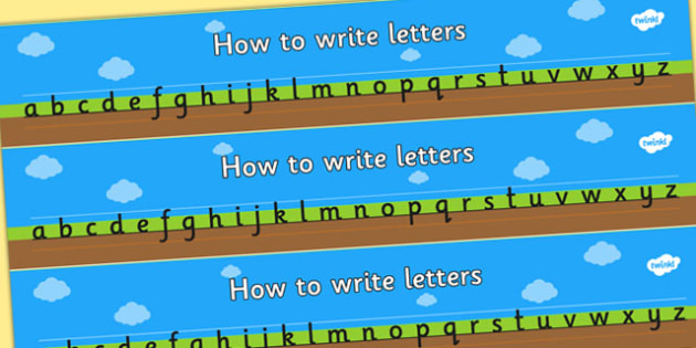 How to Write Letters Writing Aids (Ground, Sky and Grass) - education, home school, child development, children activities, free, kids, worksheets, how to write, literacy