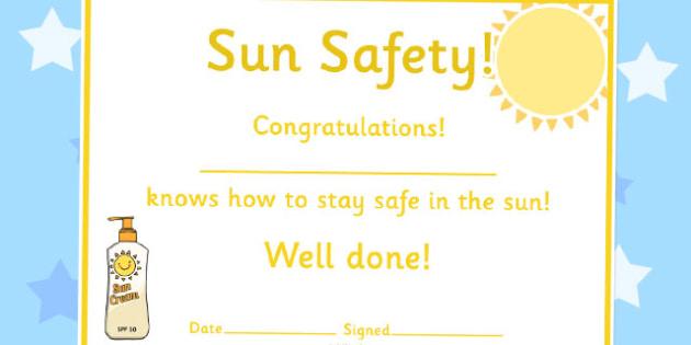 Sun Safety Certificates - sun safety, certificates, award, reward