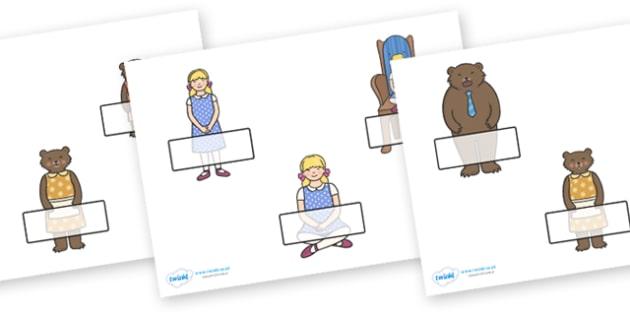 Editable Self Registration Labels (Goldilocks and the Three Bears) - Self registration, register, editable, labels, registration, child name label, printable, traditional tales, tale, fairy tale, three bears, porridge, cottage, beds
