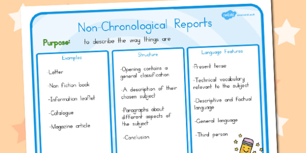 Features of Non-Chronological Reports Poster - australia, poster